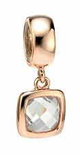 Silver Charm Drop Bead 925 Silver Square CZ Silver Charm Rose Gold Plated Y2612C