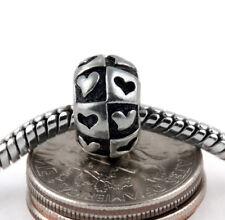 2PCs Antique Silver Contrasting Hearts Spacer Beads Fits European Charm Bracelet