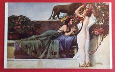 CPA. Illustrateur S. HRUBY. Mélodie. Femmes. Sofa. Félin. Harpe?  Voiles. Fleurs