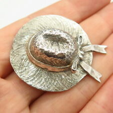 Straw Hat Bow Handcrafted Pin Brooch J.H. Breakell Vintage 925 Sterling Silver