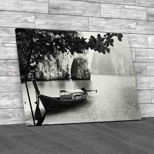 Quiet Lake with Boat Black White Canvas Print Large Picture Wall Art