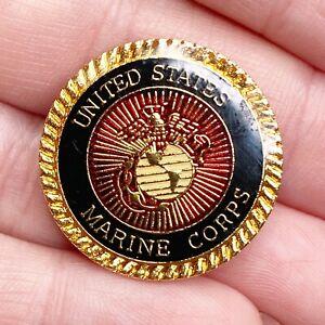 "UNITED STATES MARINE CORPS 1"" Round Lapel Pin USMC Globe & Anchor Gold Black Red"
