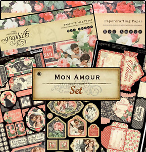 Graphic 45 Mon Amour BUNDLE w/8x8 & 12x12 Pad Tags/Pockets & More RETIRED HTF!
