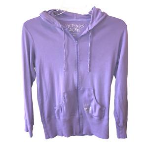 Victorias Secret Love Women Size S Purple Zip Front Hoodie Top Hooded Sweatshirt