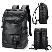 Mens Black Leather Travel Backpack Rucksack Laptop Bag School Satchel Handbag