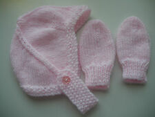 Hand Knitted Baby Chapeau et mitaines-Naissance à 3 mois rose
