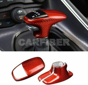 Red Carbon Fiber Gear Shift Knob Cover For Dodge Challenger Charger 2015-2020