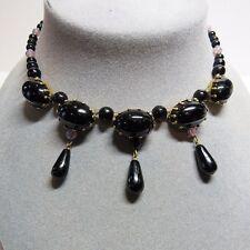 Roberto Cavalli Black Leather Stone Embellished Pendant Western Necklace~RTL$550