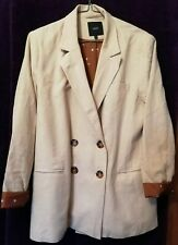 NEXT Lined Linen Ladies Double Breasted Jacket, Cream/Fawn, size 12