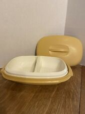 Tupperware Steamer and Strainer 4pc.  Divided Serving Dish - Harvest Gold