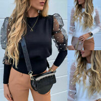 Sleeve Tops Pullover Jumper Ladies Casual Loose T Shirt Beads Puff Mesh Womens