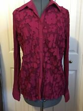 CLAUDIA RICHARD Berry Colored Long Sleeve Semi Sheer Crinkle Lace Blouse - L