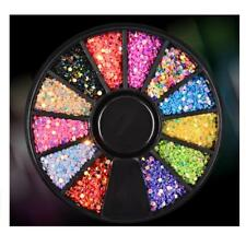 1 Wheel Nail Art Rhinestone Crystal Stud Tips Sticker Decor Manicure MTSSII