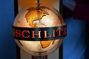 Vintage c.1968 SCHLITZ Globe Revolving Spinning Motion Lighted Sign Miller Bud