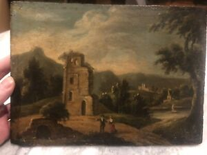Early 19th Century Oil On Panel Of Figure In A Landscape. Antique