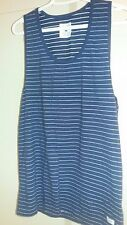 Used Men's GLOBE Aussie Blue/White Stripe Cotton Tank Top T-Shirt SZ M HTF 2014