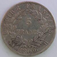 FRANCE 5 FRANCS NAPOLEON EMPEREUR 1809 B TB/TTB