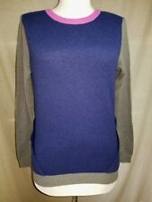 SI IAE 100% Cashmere Sweater XS Back Cut-Outs Gray Purple Pink Unique Pretty