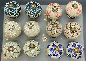 Ceramic Glazed Door Knobs Multicoloured Vintage Charm 6x4cm Sold Individually