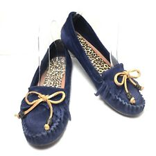 Women's Lucky Brand Blue Suede Leather Moccasins Loafers  Size 7 M