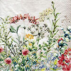 4x Designer PAPER NAPKINS for Decoupage WILD MEADOW Flowers Floral