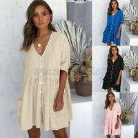 Women Summer Smock Dress Top Ladies Holiday Beach Casual Loose Shirt Sundress UK