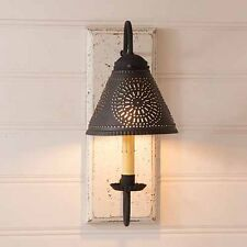 Vintage White Crestwood Wood Wall Sconce with Tin Shade - Irvins Country Tinware