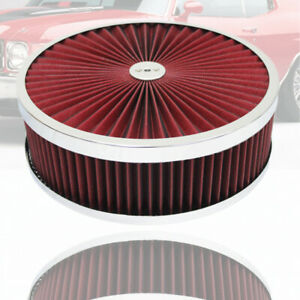 """14"""" X 4"""" Chrome Round Red High Flow Thru Washable Air Cleaner Recess Base Fit GM"""