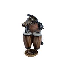Miniature Ceramic Crocodile Drummer Ornament