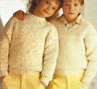 "Girls Boys Knitting Pattern Fisherman's Rib Sweater 22-30"" Easy Knit DK  542"