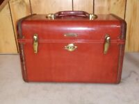 VINTAGE BROWN HARD CASE SAMSONITE VANITY CASE 4912, SHWAYDER BROS,DENVER CO