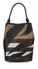 NWT Burberry Large Bucket Leather Patchwork Classic House Check Bag