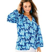 Lilly Pulitzer Womens Top XS Blue Martinique Elegant Print Blouse