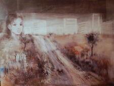 Tableau peinture Wolkoff paysage urbain ville cité banlieu poeme Henri Michaux