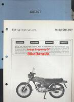 Honda CB125T Twin (1977 >>) Genuine Set-Up Instructions Manual CB 125 T T1 CA44