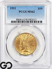 1911 MS62 Gold Eagle, $10 Gold Indian PCGS Mint State 62 ** Nice!