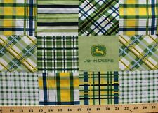 Discontinued John Deere Tractor Logo Madras Blue Green Plaid Cotton Fabric BTY