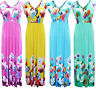 Womens Ladies Printed Floral V Neck Sleeveless Summer Maxi Dress Size 12 14 16