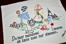 Love Of German Boy & Girl In Village! Vtg German Pillow Sham Signed & Dated 1957