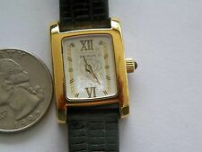 SWISS PIERRE BALMAIN ORNATE DIAL-JEWELED CROWNL QUARTZ WATCH LEA STRAP