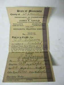 Vintage 1926-1927 Minnesota Trapping License