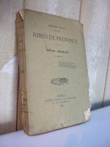 Adrien ROUX : RIMES DE PROVINCE poésies nouvelles Paris 1893