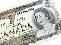 1973 Canada One Dollar BAR Prefix Uncirculated Elizabeth Canadian Banknote L380