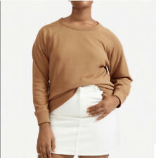 Everlane Womens Lighweight French Terry Crewneck Pullover Sweater Tan Size Med