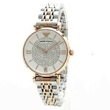 ARMANI WOMENS AR1926 GIANNI T-BAR ROSE GOLD/SILVER TWO TONE WATCH, COA, RRP £349