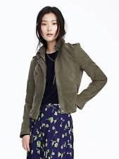 NWT  Banana Republic 100% Leather Olive Suede Moto Jacket SZ S