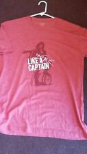 Captain Morgan  Mens T-Shirt  Liquor Drink LIKE A CAPTAIN PRINT ~ RED  MEDIUM