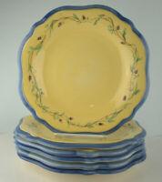 "Pfaltzgraff Pistoulet Salad Plates 9"" Set of 6 Yellow Center Blue Band"