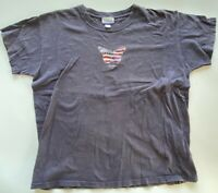 Reebok Mens Graphic T-Shirt Gray Patriotic Butterfly Crew Neck Tee XL