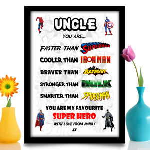 Birthday gift for Uncle Super hero personalised present A4 gloss print